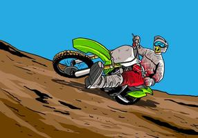 Dirt Bikes Accelerating In Dirt Track vector
