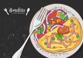 Omelette Vegetable On Plate vector