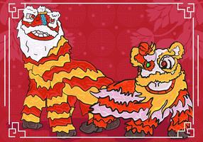 Lion Dance Background Illustration