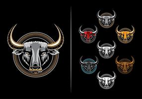 Symmetrical and bold bull ellipse emblem