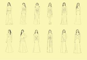 Set of Bridesmaid Handdrawn