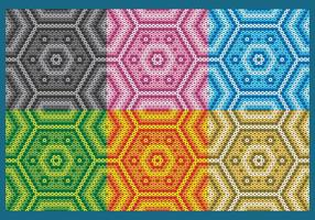 Colorful Huichol Hexagonal Patterns vector