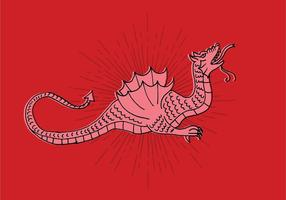 Dragon Line Drawing vector