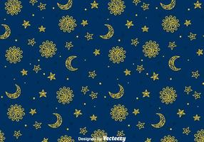 Sun, Moon And Sun Gipsy Seamless Pattern