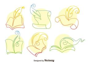 Writing Poem Line Icons Vector
