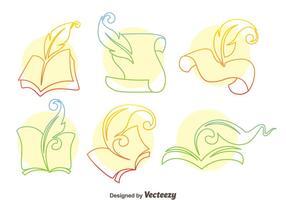 La escritura del poema de la línea de iconos vectoriales