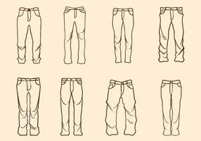 Vetor de jeans livre mão desenhada