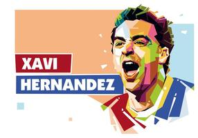 Xavi Hernandez i Popart Porträtt