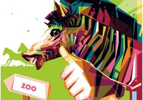 Zoo zebra portrait vector