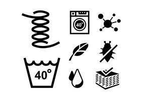 Ícones de vetor para limpeza de roupa de cama