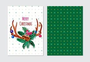 Card With Christmas Vector Horn Wreath