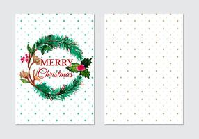 Card With Fir Wreath Free Vector