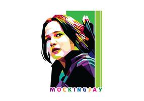 Katniss Everdeen Mocking Jay em Popart Portrait - WPAP