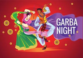 Vector Couple Playing Dandiya in Disco Garba Night