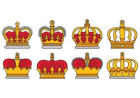 Set Of British Crown Icons vector