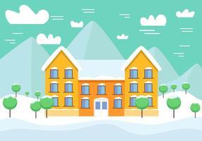 Paysage d'hiver de vecteur gratuit avec bâtiment