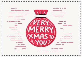 Free Vintage Hand Drawn Christmas Card Vector