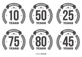 Etiquetas del vector del aniversario