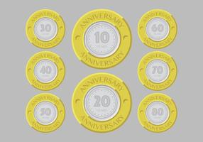 Gold and silver anniversary badges vector