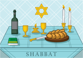 Shabbat jewish illustration