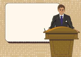 Man Speech On Lectern Template Illustration