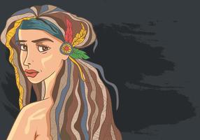 Kvinna i Dreads Hair med Boho Style
