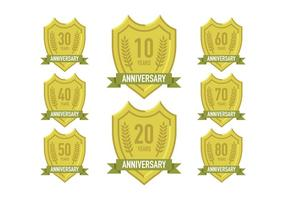 Vecteur des signes d'anniversaire de l'or