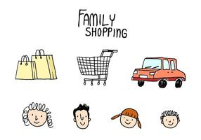 Famiglia Shopping Doodle vettoriale