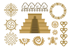 Maya Piramide Relief Vector
