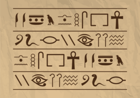 Pirámide de Egipto Hieroglyphs Vector