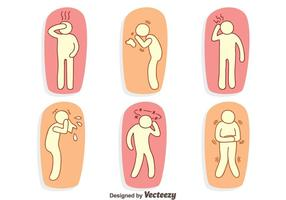 Hand gezeichnete Schmerzen und Affliction Vector Set