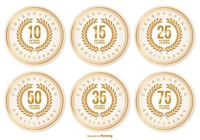 Beautiful Anniversary Labels vector
