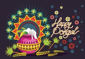Vector Illustration of Happy Pongal Greeting Background
