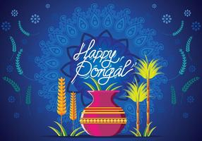 Vectorillustratie van Happy Pongal Greeting Card