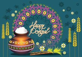 Illustrazione vettoriale di felice Pongal Greeting Card