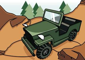 Illustration Of Jeep On The Mountain