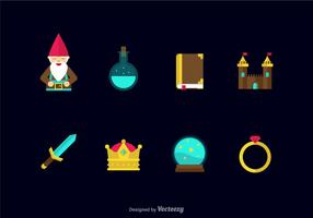 Flat Fairy Tale Vector Icons