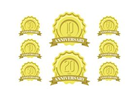 Anniversary celebration golden labels and badges vector