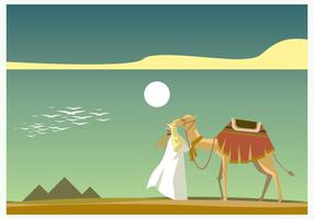Egyptian with Camel in front of Piramide Vector