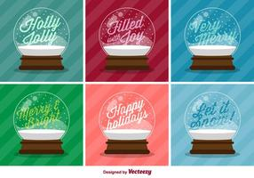Typographic Christmas Vector Snow Balls