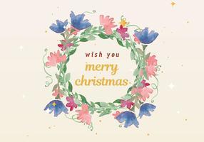Libero Natale acquerello corona vettoriale