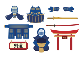 Kendo apparatuur vector set