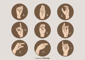 Livre Vector Sign Language Letter Set A - I