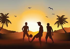 Vettore libero della siluetta di tramonto della spiaggia di calcio