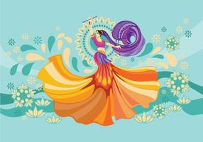Vector Design of Woman Playing Garba Dance