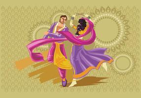 Desenho vetorial de casais executando a dança popular de Garba da Índia