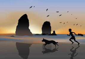 Boy with Border Collie Silhouette Free Vector