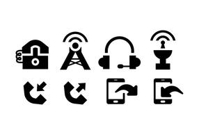 Comunication icons black on white vector