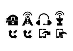 Comunicación iconos negro sobre blanco