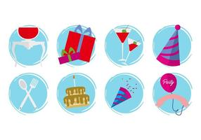 Iconos de cumpleaños gratis Vector